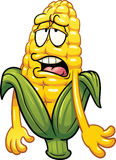 Bored cartoon corn. Vector clip art illustration with simple gradients. All in a single layer stock illustration