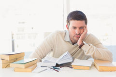 Bored casual businessman studying at his desk Royalty Free Stock Photography