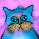 Bored Cat Digital Watercolor Portrait. A cute portrait of a fluffy watercolor cat with a bored grumpy expression Royalty Free Stock Photos