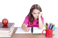 Bored child at school Stock Photo