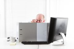 Businessman in a Office War Royalty Free Stock Photography