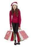 Bored christmas shopping woman Stock Photos