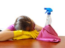 Bored cleaning Stock Photography