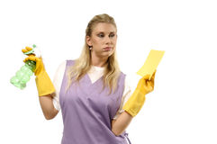 Bored cleaning lady Royalty Free Stock Photography