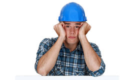 Bored construction worker Stock Photography