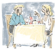 Bored date. Mismatched couple at table in restaurant Stock Images
