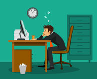 Bored employee sleeping at work desk in the office. Exhausted tired bored employee sleeping at work desk in the office stock illustration