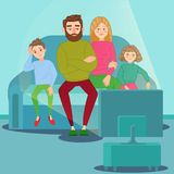 Bored Family Watching TV. Television Addiction. Unhappy Parents with Children Sitting on Sofa behind TV Set. Vector illustration stock illustration