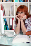 Bored female student Stock Photos