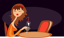 Bored girl. Vector image of bored lonely girl in cafe royalty free illustration