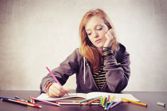 Bored Girl Coloring Royalty Free Stock Images