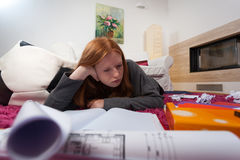 Bored girl during learning Royalty Free Stock Photo