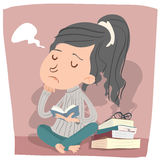 Bored girl reading. Cartoon girl in bored mood reading book vector illustration