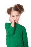 Bored girl with teethahce Royalty Free Stock Photography