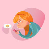 Bored girl writing a message. Vector illustration Stock Image