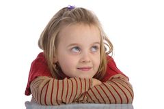 Bored kid. Daydreaming kid isolated on white Royalty Free Stock Photography