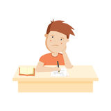 Bored kid doing homework or sitting on boring school lesson. Cute cartoon vector illustration stock illustration