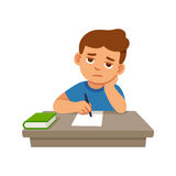 Bored kid at school. Bored kid doing homework or sitting on boring school lesson. Cute cartoon vector illustration stock illustration