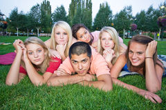Bored Kids on the Grass Stock Photos