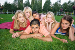 Bored Kids on the Grass Stock Image