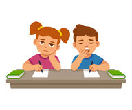 Bored kids at school. Lesson, boy and girl. Cute cartoon vector illustration royalty free illustration