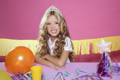 Bored little blond girl birthday party Royalty Free Stock Photo