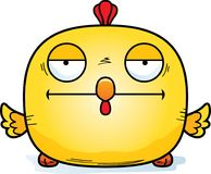 Bored Little Chicken. A cartoon illustration of a chicken looking bored stock illustration