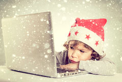 Bored little Santa Stock Photos