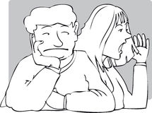 Bored. Man with bored expression listening to woman vector illustration
