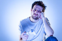 Bored Man with Gamepad Royalty Free Stock Images