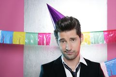 Bored man in a party funny boring gesture Royalty Free Stock Photography