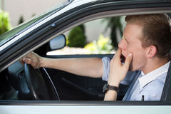Bored man waiting in traffic jam Royalty Free Stock Photo