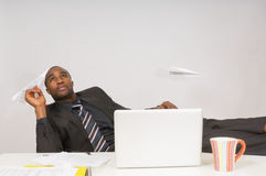 Bored Man At Work Stock Photo