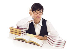 Bored Mixed Race Female Student at Desk with Books Stock Photography