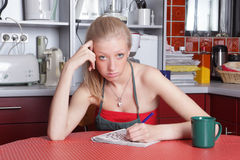 Bored neglected housewife Stock Images
