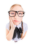 Bored nerdy girl or tooth ache concept Royalty Free Stock Images