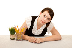Bored office worker Royalty Free Stock Photo