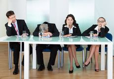 Bored panel of judges or interviewers Stock Images