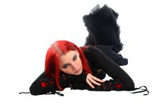 Bored red hair girl on the floor. Stock Photography