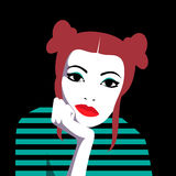 Bored redhead girl. Vector portrait of bored beautiful redhead girl holding chin with her hand royalty free illustration