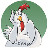 Bored rooster. Illustration of a bored rooster. Cartoon style. Green round background royalty free illustration