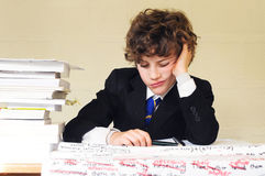 Bored school boy Stock Photo