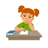 Bored school girl. Doing homework. Cute cartoon vector illustration vector illustration