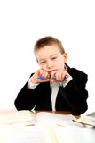 Bored schoolboy Stock Photo
