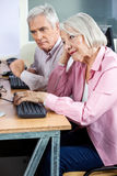 Bored Senior Woman Using Computer With Male Classmate Stock Image