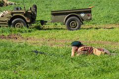 Bored Soldier. stock photo