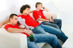 Bored sport fan Royalty Free Stock Photography