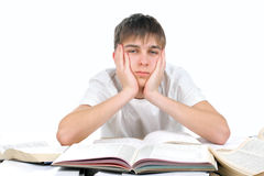 Bored student. Bored and tired student after hard work for exam Royalty Free Stock Image