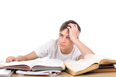 Bored student. Bored and tired student after hard work for exam Stock Images