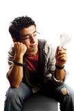 Bored student die op een idee wacht Stock Fotografie